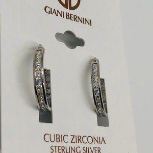 New Giani Bernini Studded Sterling Silver Hoops